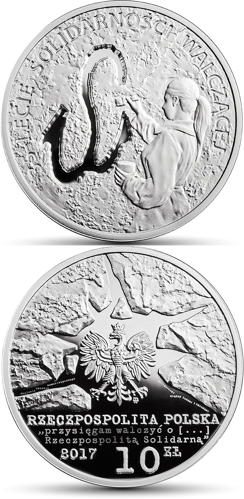 Image of 10 zloty coin - 35th Anniversary of Fighting Solidarity  | Poland 2017.  The Silver coin is of Proof quality.