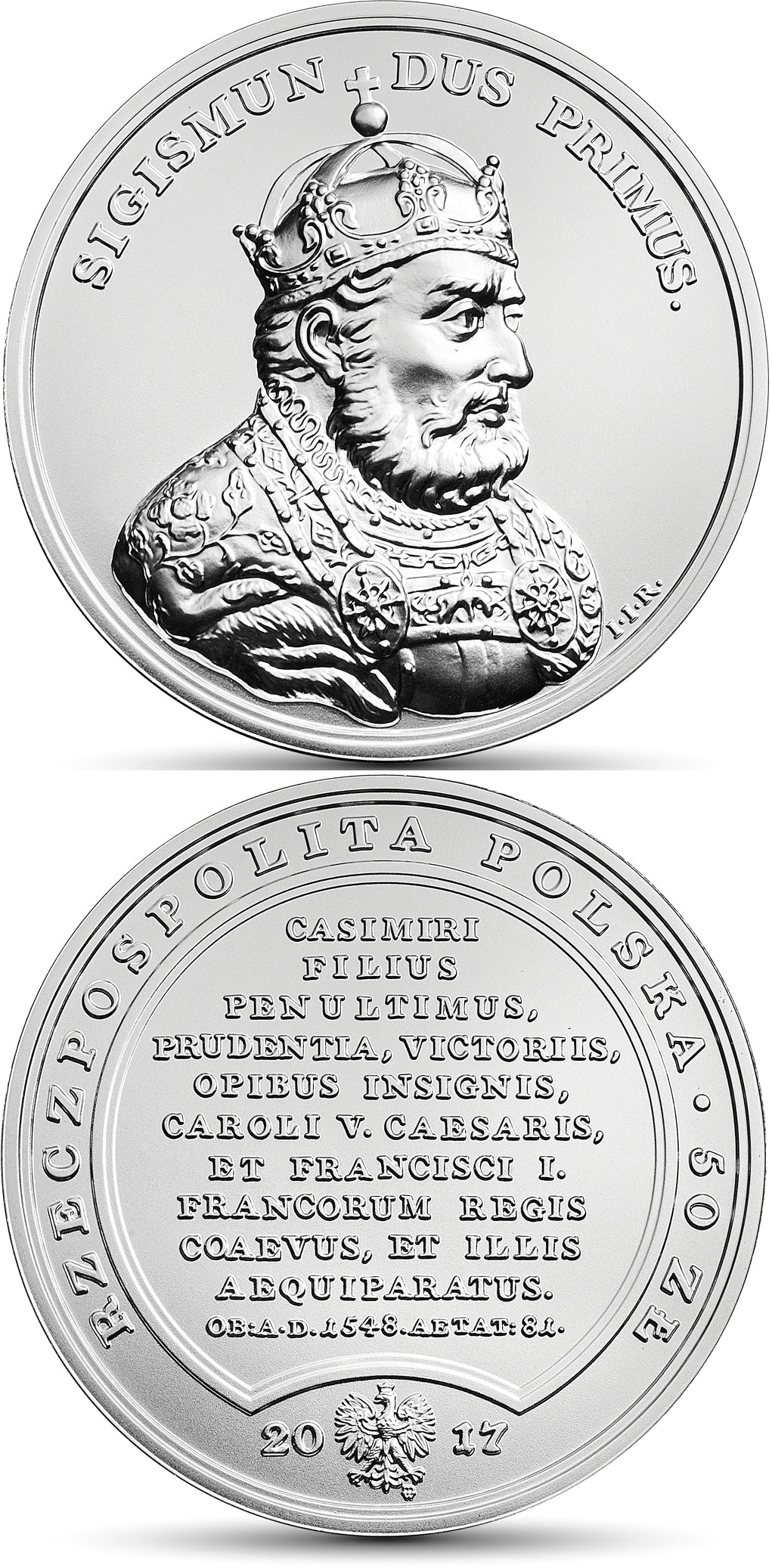 Image of 50 zloty coin – Sigismund the Elder | Poland 2017.  The Silver coin is of BU quality.