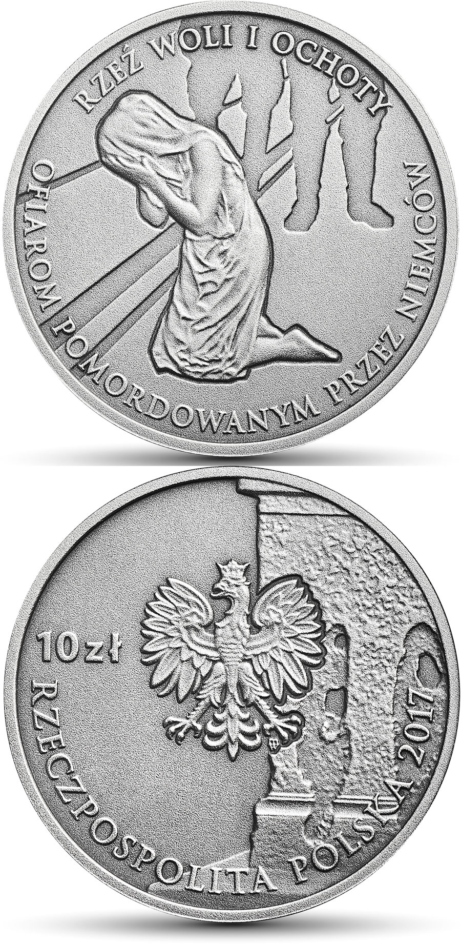 Image of 10 zloty coin – The Wola and Ochota Massacres  | Poland 2017.  The Silver coin is of Proof quality.