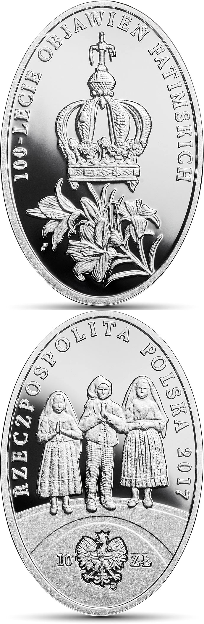 Image of 10 zloty coin – 100th Anniversary of the Apparitions of Fatima | Poland 2017.  The Silver coin is of Proof quality.