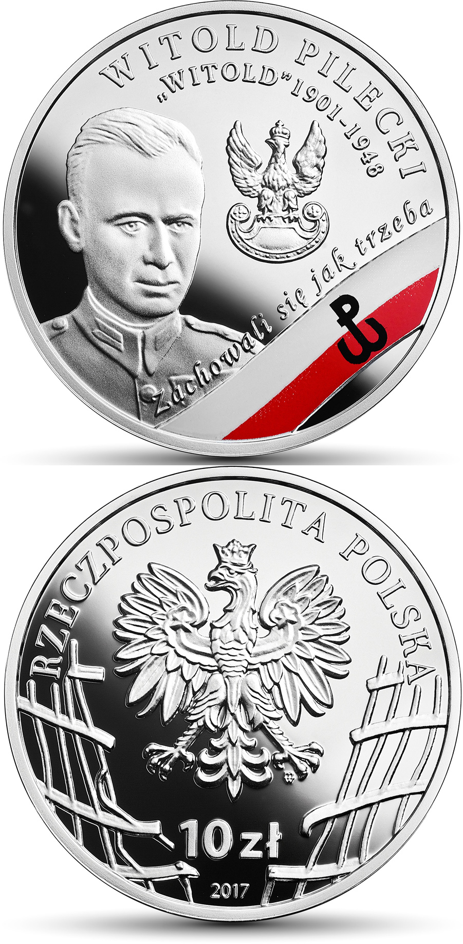 Image of 10 zloty coin - Witold Pilecki Witold | Poland 2017.  The Silver coin is of Proof quality.
