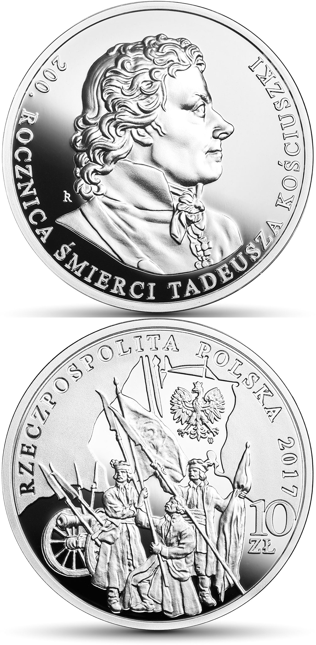 Image of 10 zloty coin - 200th Anniversary of the Death of Tadeusz Kościuszko | Poland 2017.  The Silver coin is of Proof quality.