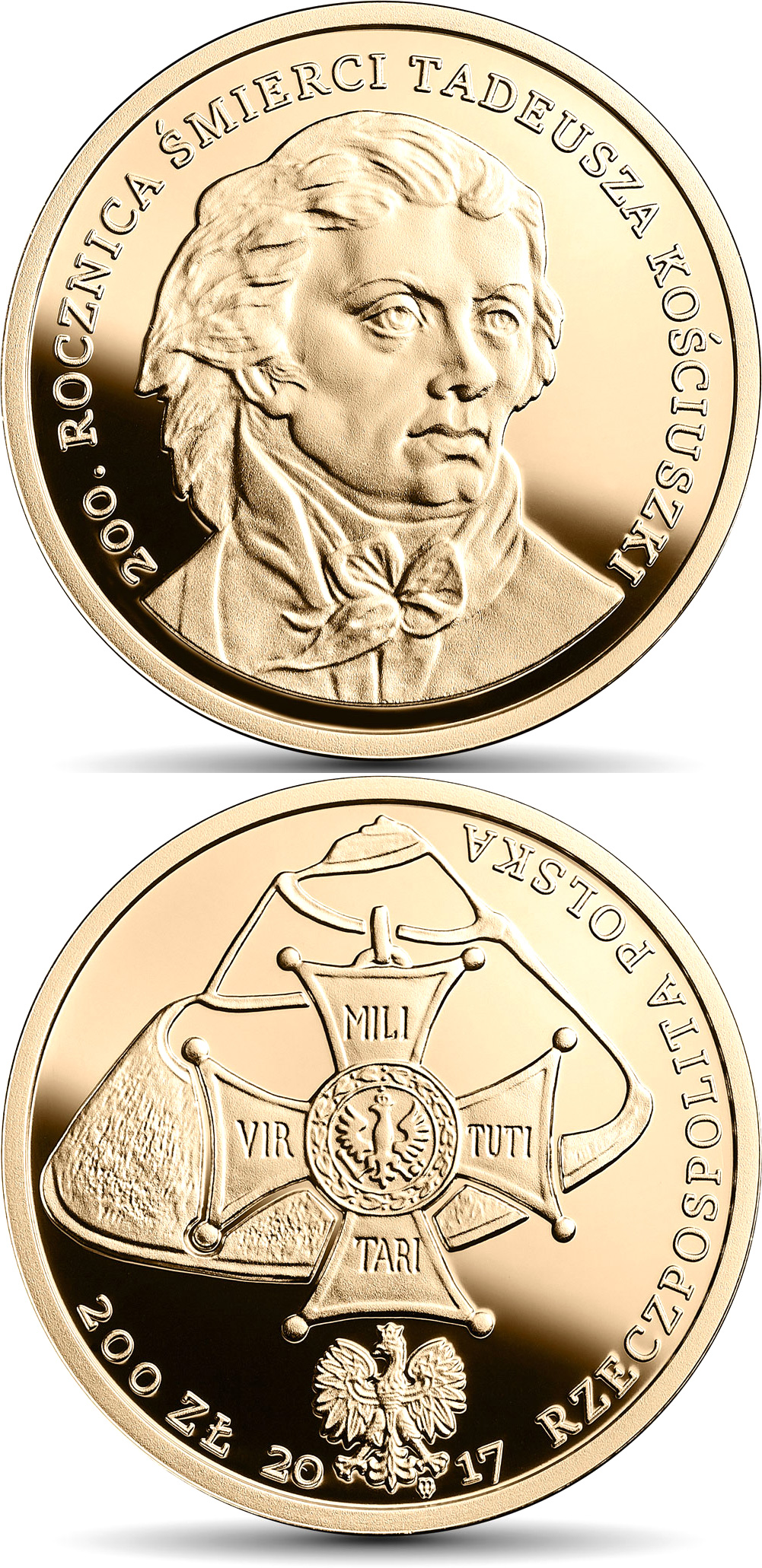 Image of 200 zloty coin - 200th Anniversary of the Death of Tadeusz Kościuszko | Poland 2017.  The Gold coin is of Proof quality.