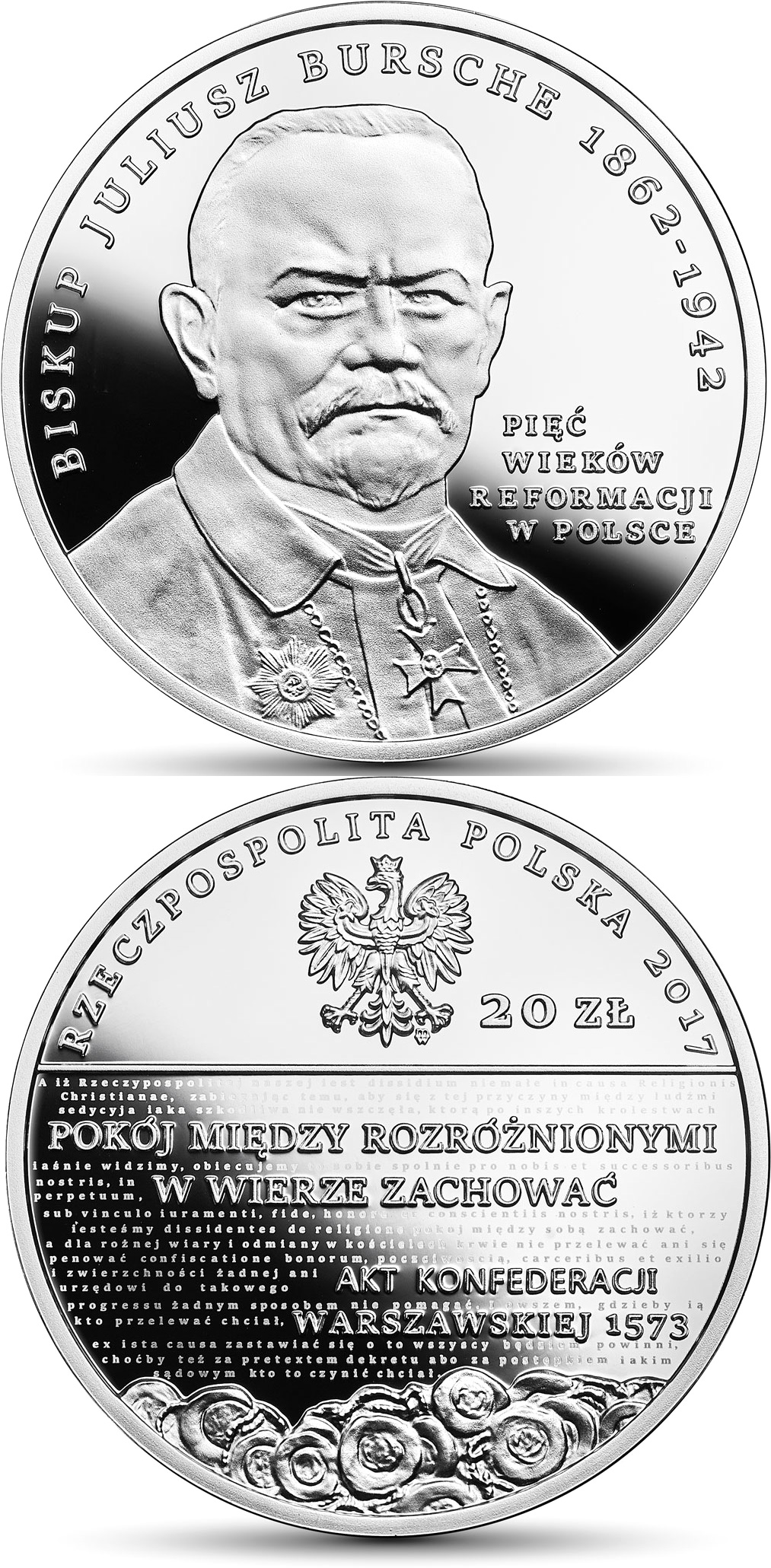 Image of Five Centuries of the Reformation in Poland  – 20 zloty coin Poland 2017.  The Silver coin is of Proof quality.