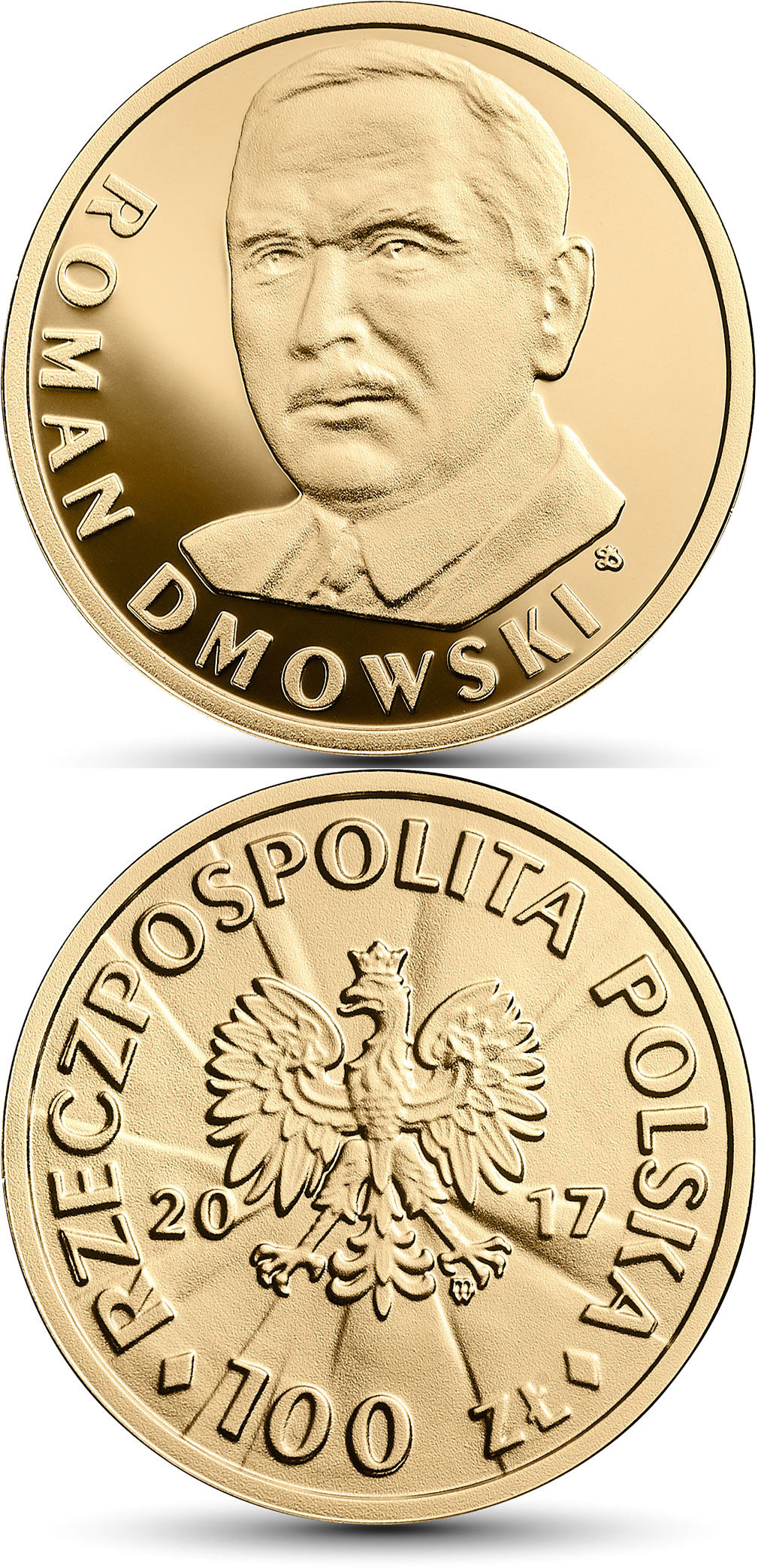 Image of 100 zloty coin – 100th Anniversary of Regaining Independence by Poland – Roman Dmowski | Poland 2017.  The Gold coin is of Proof quality.