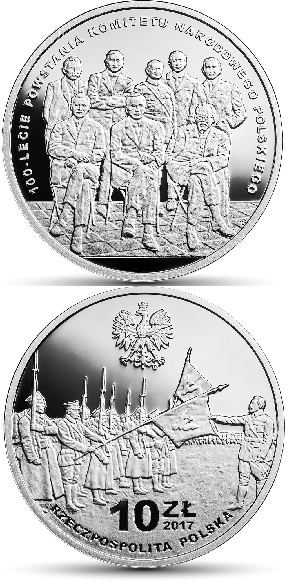Image of 10 zloty coin - 100th Anniversary of the Polish National Committee  | Poland 2017.  The Silver coin is of Proof quality.