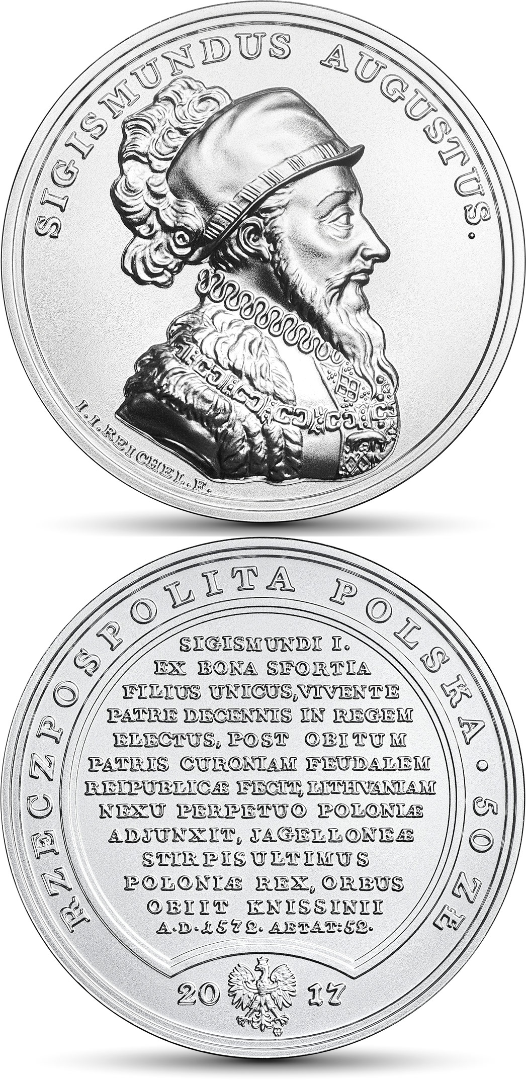 Image of 50 zloty coin – Sigismund Augustus | Poland 2017.  The Silver coin is of BU quality.