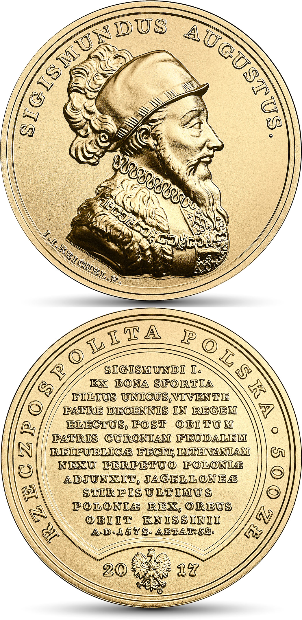 Image of 500 zloty coin Sigismund Augustus | Poland 2017.  The Gold coin is of BU quality.