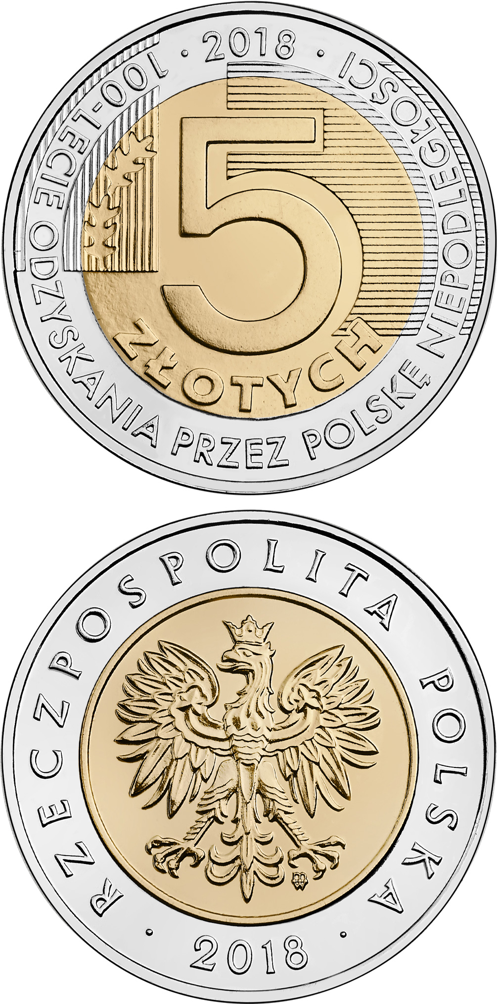 Image of 5 zloty coin – 100th Anniversary of Regaining Independence by Poland | Poland 2018.  The Bimetal: CuNi, nordic gold coin is of UNC quality.