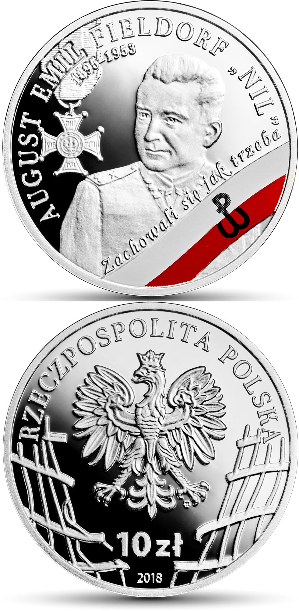Image of 10 zloty coin – August Emil Fieldorf alias Nil | Poland 2018.  The Silver coin is of Proof quality.
