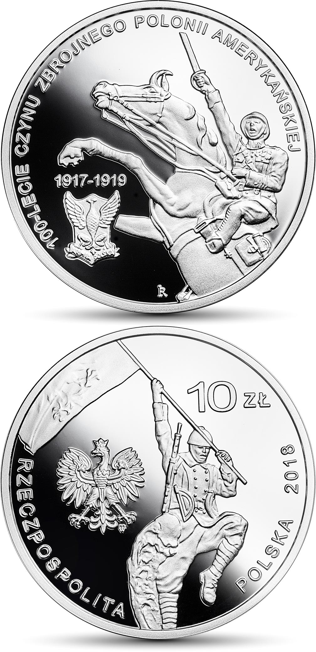 Image of 10 zloty coin 100th Anniversary of the Military Effort of Polish Americans | Poland 2018.  The Silver coin is of Proof quality.
