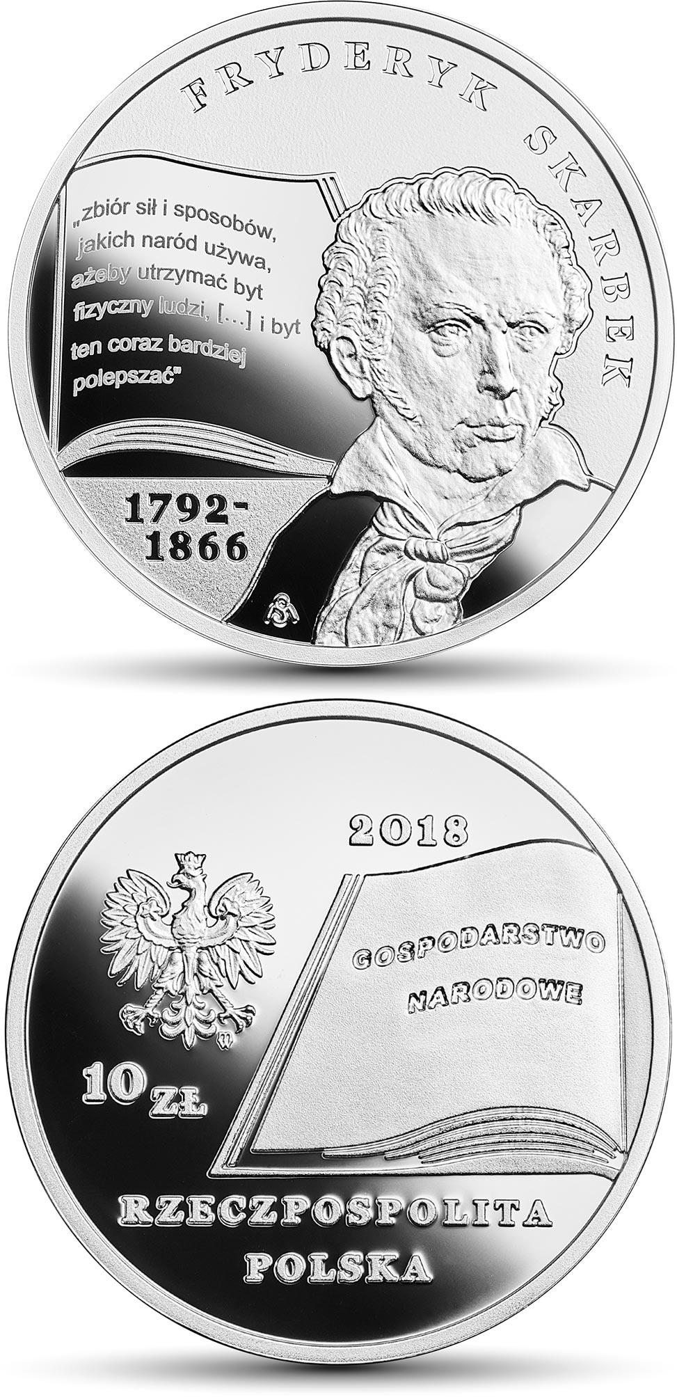 Image of 10 zloty coin - Fryderyk Skarbek | Poland 2018.  The Silver coin is of Proof quality.