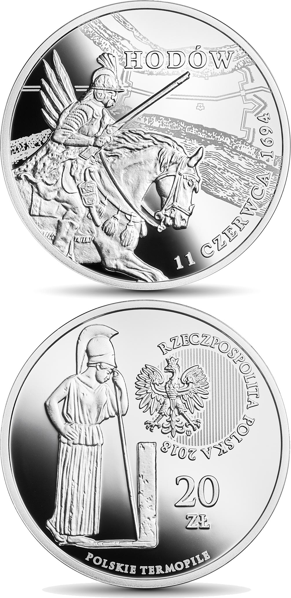 Image of 20 zloty coin - The Polish Thermopylae – Hodów | Poland 2018.  The Silver coin is of Proof quality.