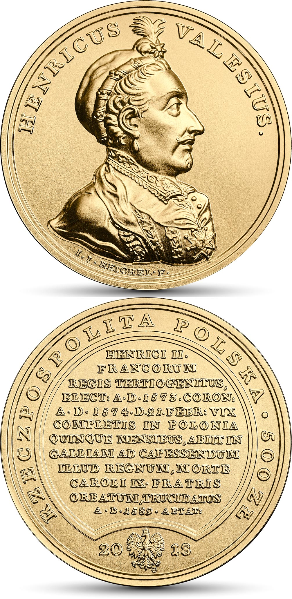 Image of 500 zloty coin - Henry Valois | Poland 2018.  The Gold coin is of BU quality.