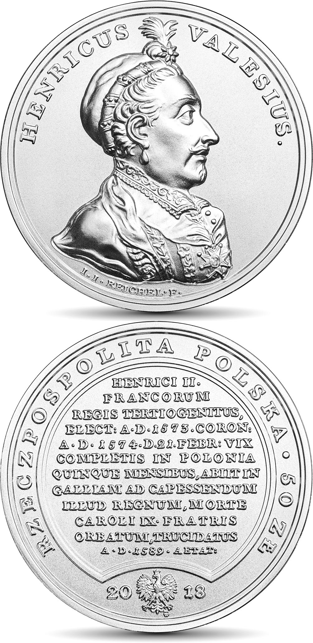 Image of 50 zloty coin – Henry Valois | Poland 2018.  The Silver coin is of BU quality.