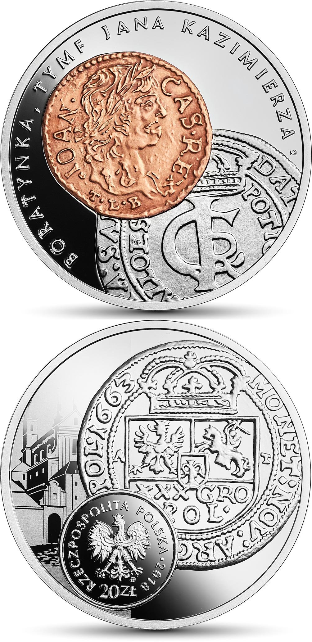 Image of boratynka, tymf of John Casimir Vas – 20 zloty coin Poland 2018.  The Silver coin is of Proof quality.