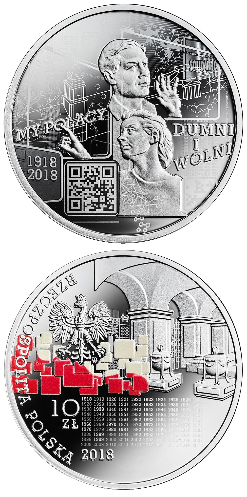 Image of 10 zloty coin – We Poles, proud and free: 1918-2018 | Poland 2018.  The Silver coin is of Proof quality.