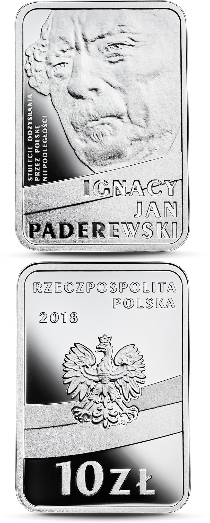 Image of 10 zloty coin - 100th Anniversary of Regaining Independence by Poland – Ignacy Jan Paderewski | Poland 2018.  The Silver coin is of Proof quality.