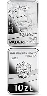 10 zloty coin 100th Anniversary of Regaining Independence by Poland – Ignacy Jan Paderewski | Poland 2018