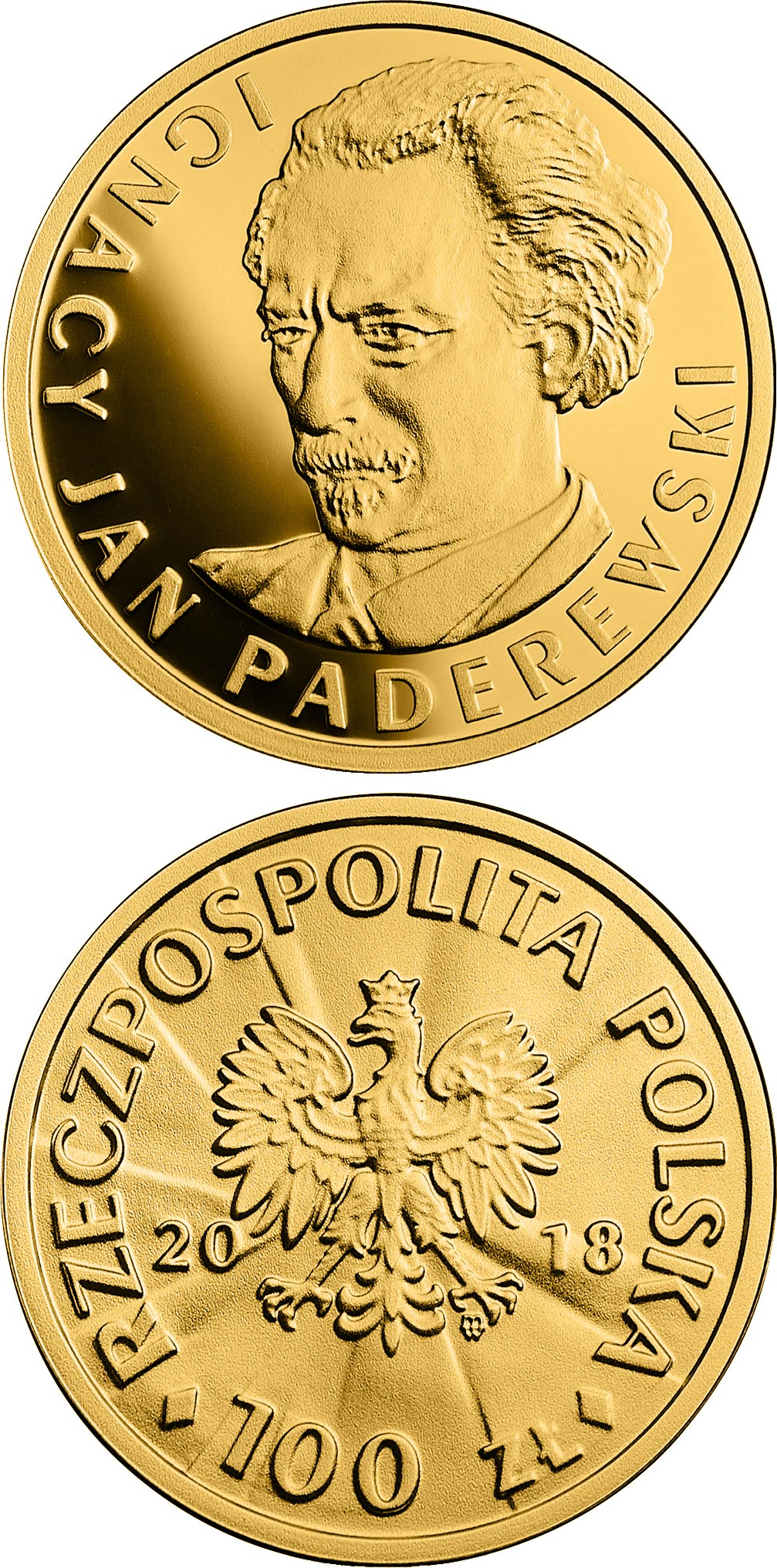 Image of 100 zloty coin - 100th Anniversary of Regaining Independence by Poland – Ignacy Jan Paderewski | Poland 2018.  The Gold coin is of Proof quality.
