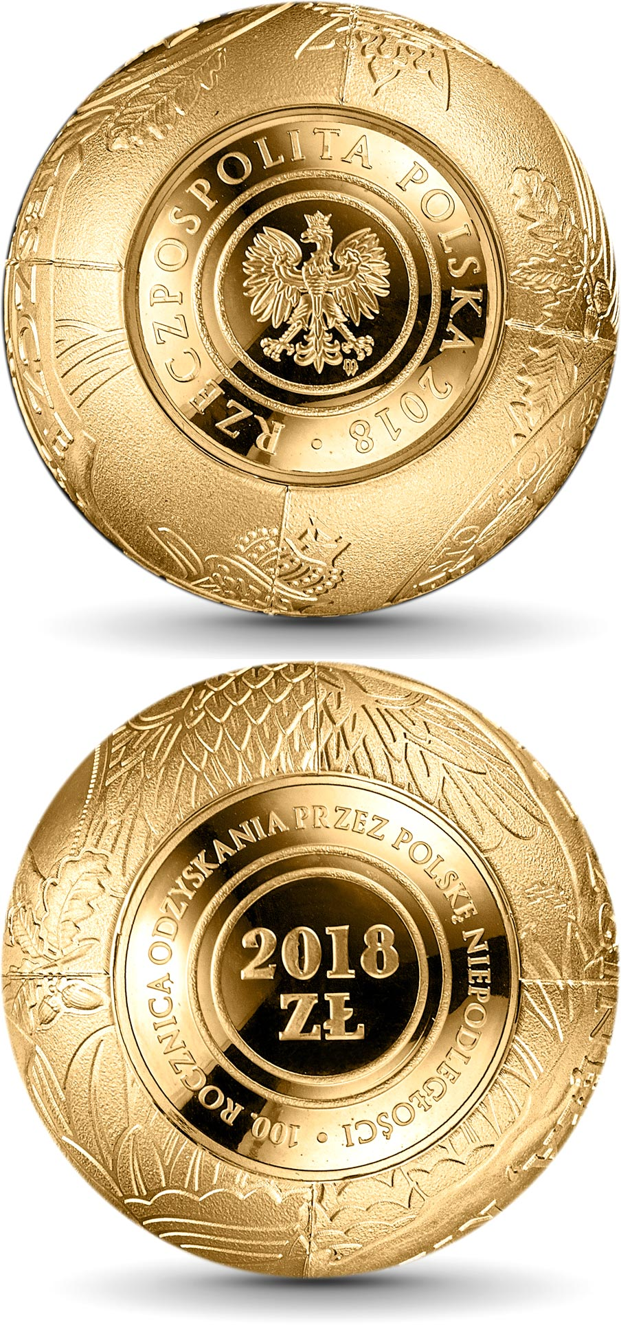 Image of 2018 zloty coin – 100th Anniversary of Regaining Independence by Poland | Poland 2018.  The Gold coin is of Proof quality.