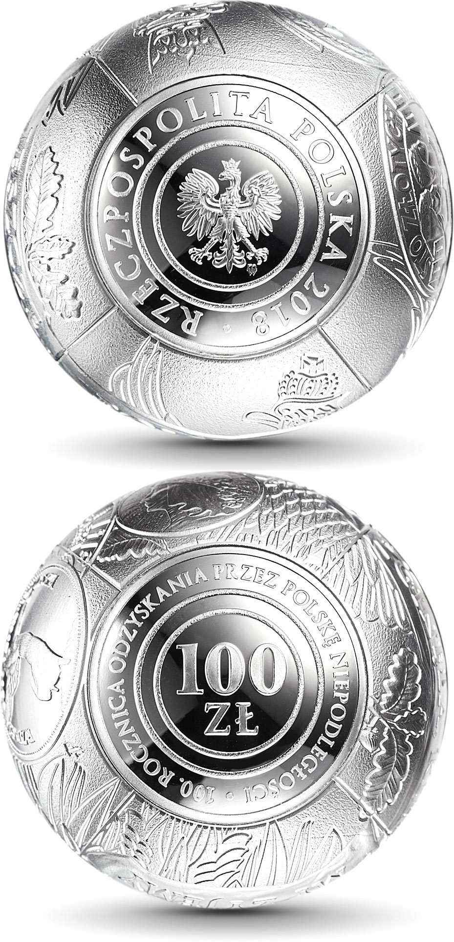 Image of 100 zloty coin - 100th Anniversary of Regaining Independence by Poland | Poland 2018.  The Silver coin is of Proof quality.