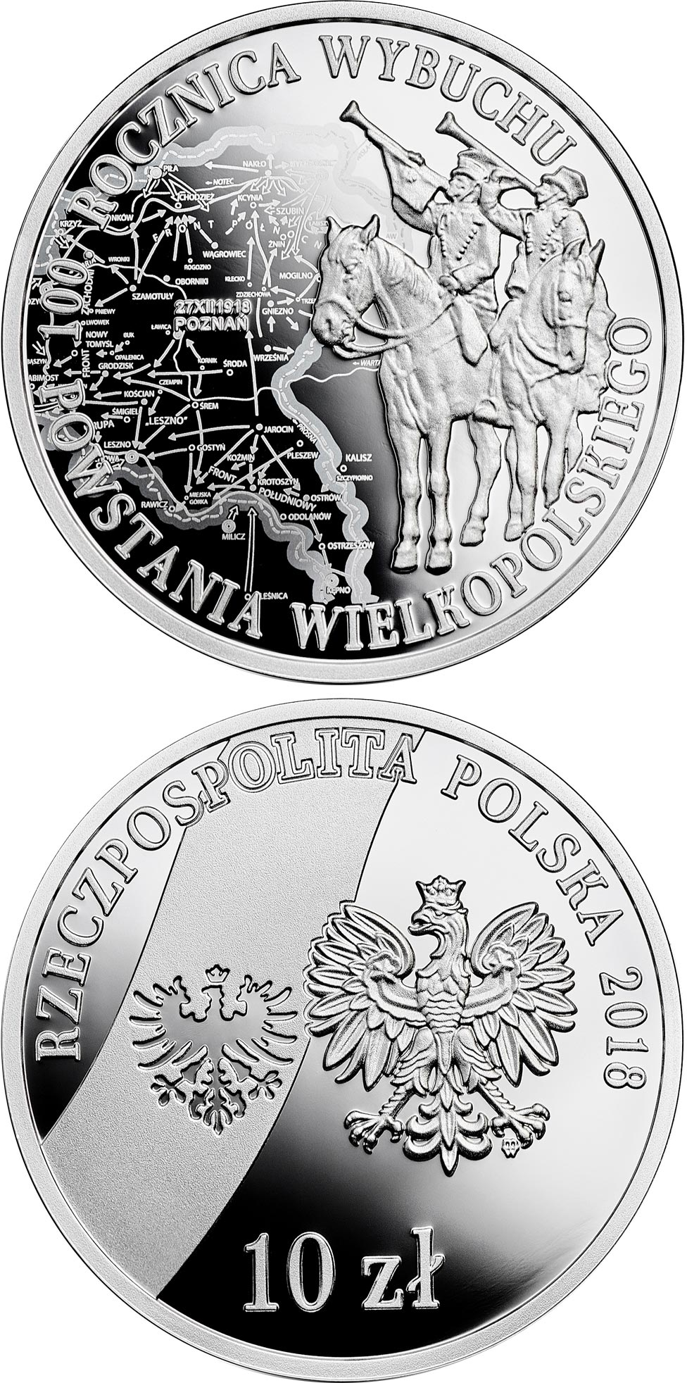 Image of 10 zloty coin – 100th Anniversary of the Outbreak of the Wielkopolskie Uprising | Poland 2018.  The Silver coin is of Proof quality.