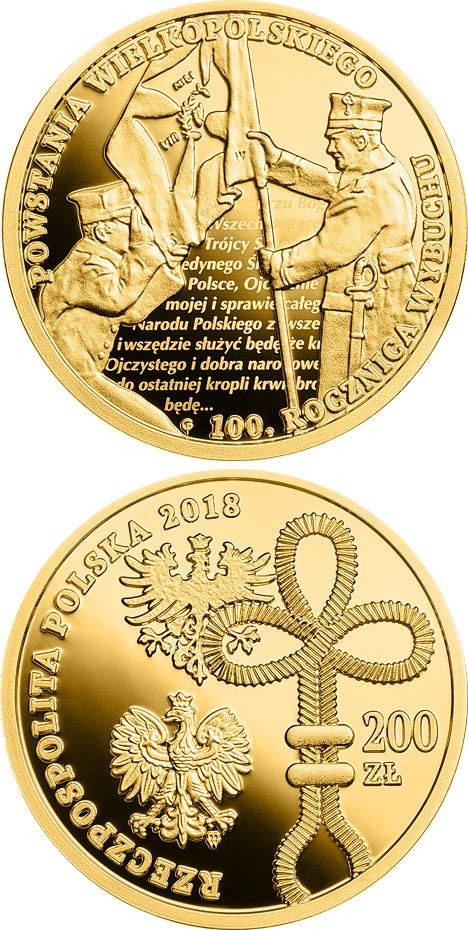 Image of 200 zloty coin – 100th Anniversary of the Outbreak of the Wielkopolskie Uprising | Poland 2018.  The Gold coin is of Proof quality.