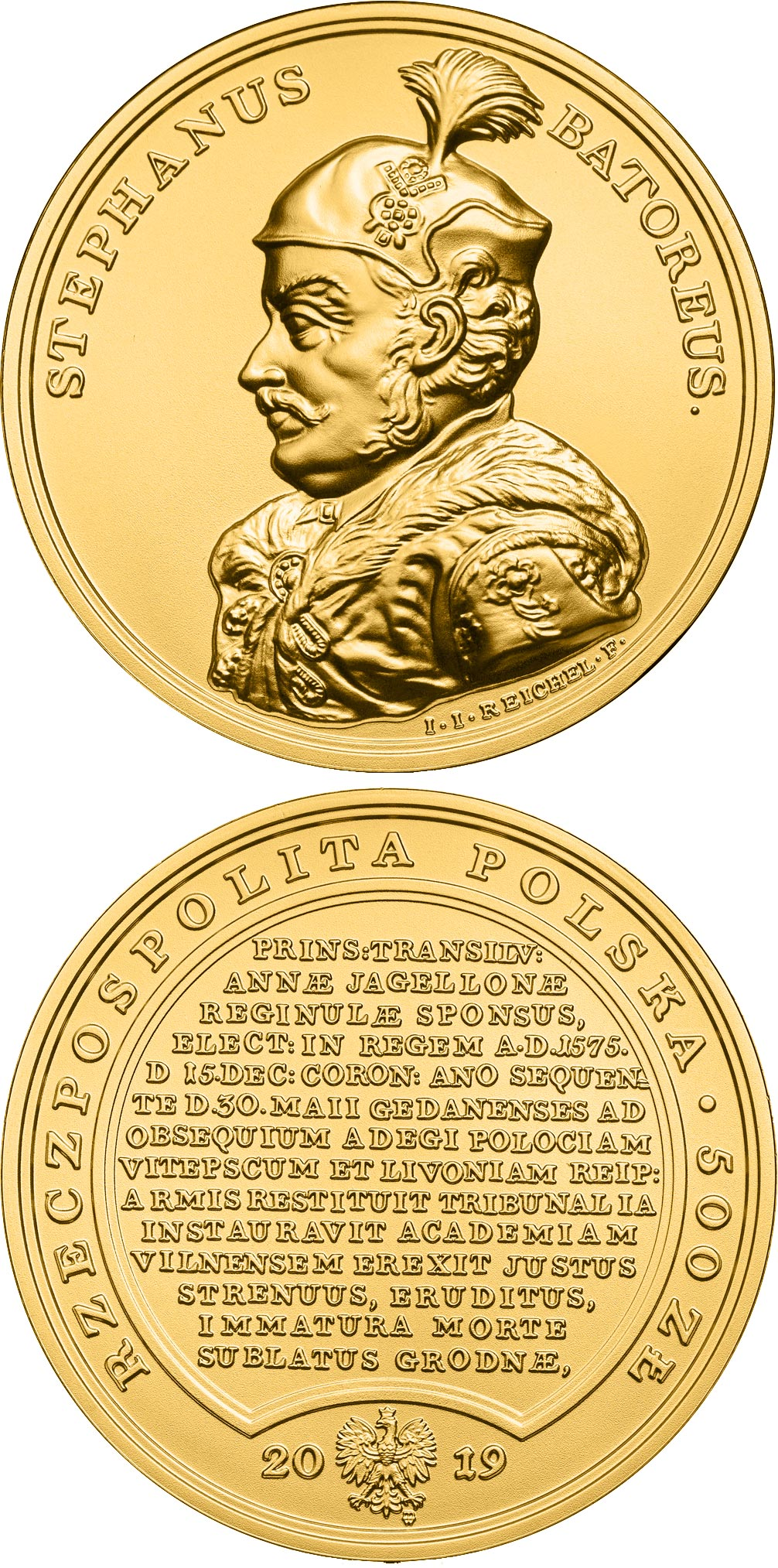 Image of 500 zloty coin - Stephen Bathory | Poland 2019.  The Gold coin is of BU quality.