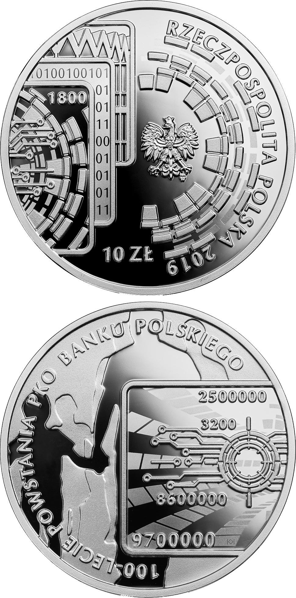 Image of 10 zloty coin - 100th Anniversary of PKO Bank Polski | Poland 2019.  The Silver coin is of Proof quality.