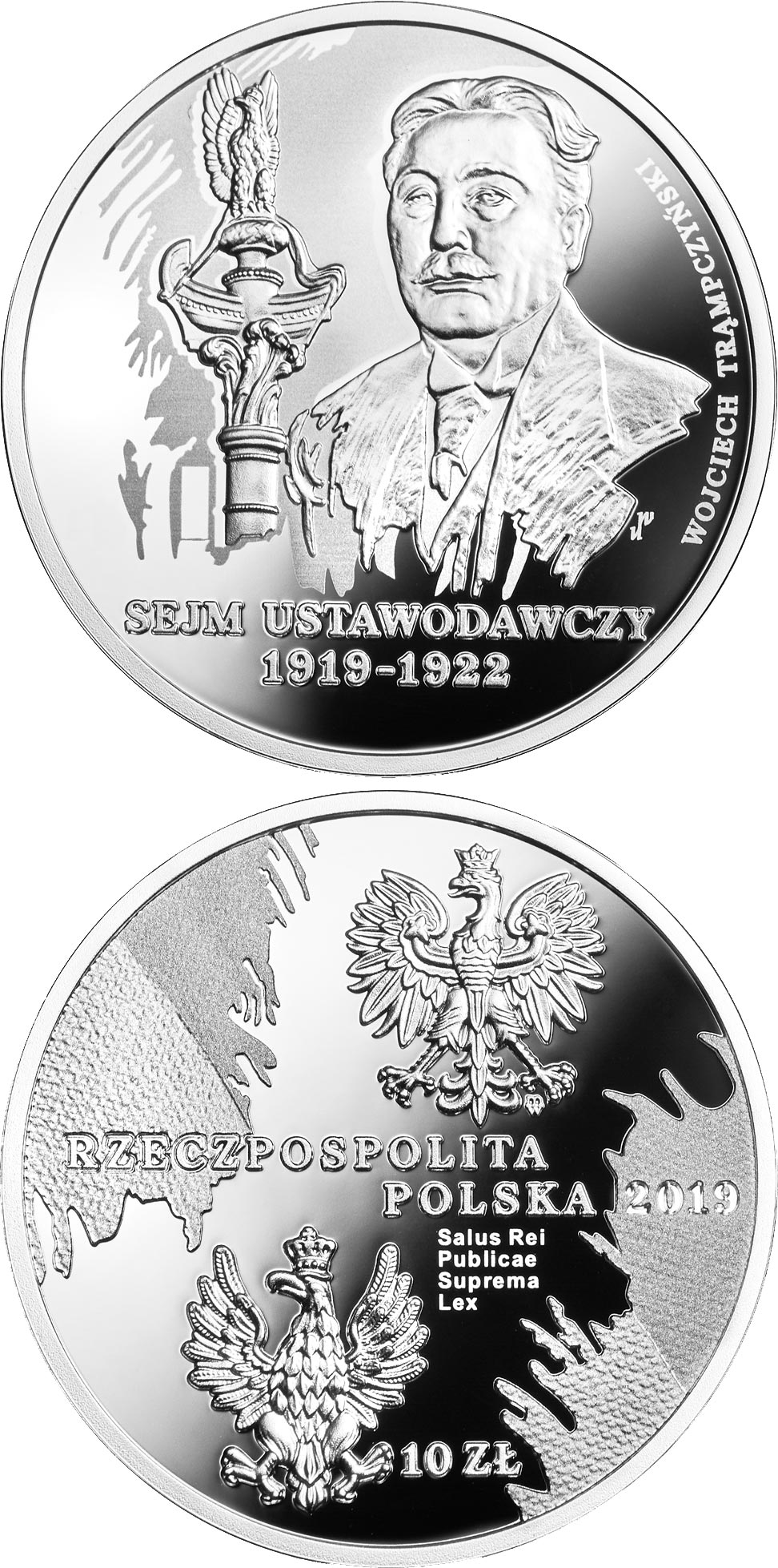 Image of 10 zloty coin - Legislative Sejm of 1919-1922 | Poland 2019.  The Silver coin is of Proof quality.