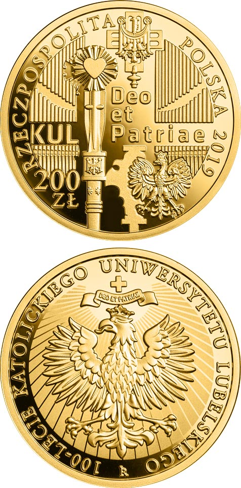 Image of 200 zloty coin - 100th Anniversary of the Catholic University of Lublin | Poland 2019.  The Gold coin is of Proof quality.