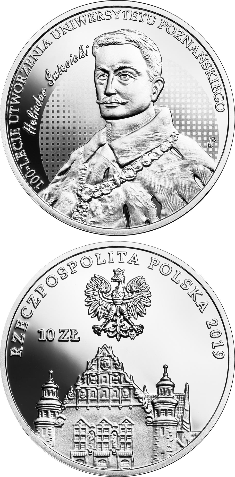 Image of 10 zloty coin - 100th Anniversary of the University of Poznań | Poland 2019.  The Silver coin is of Proof quality.