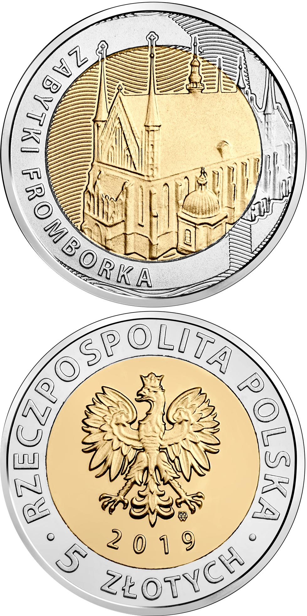 Image of 5 zloty coin - The Monuments of Frombork  | Poland 2019.  The Bimetal: CuNi, nordic gold coin is of UNC quality.