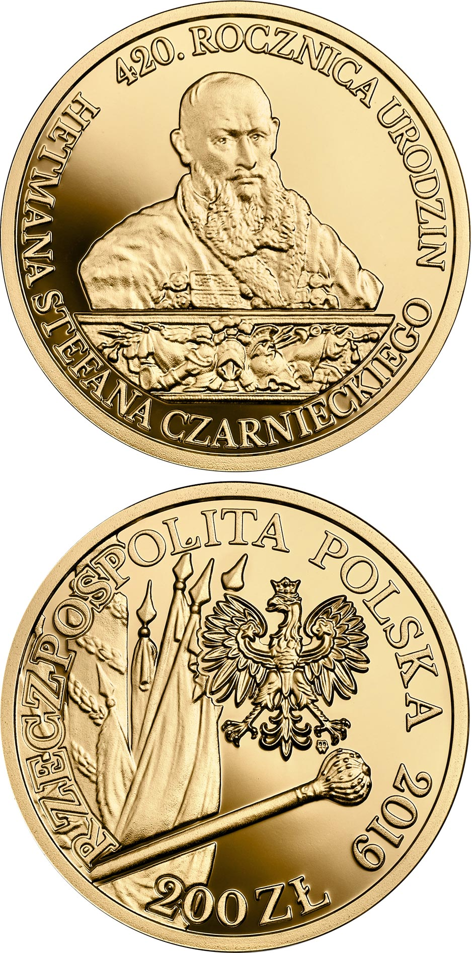 Image of 200 zloty coin - 420th Anniversary of the Birth of Hetman Stefan Czarniecki | Poland 2019.  The Gold coin is of Proof quality.