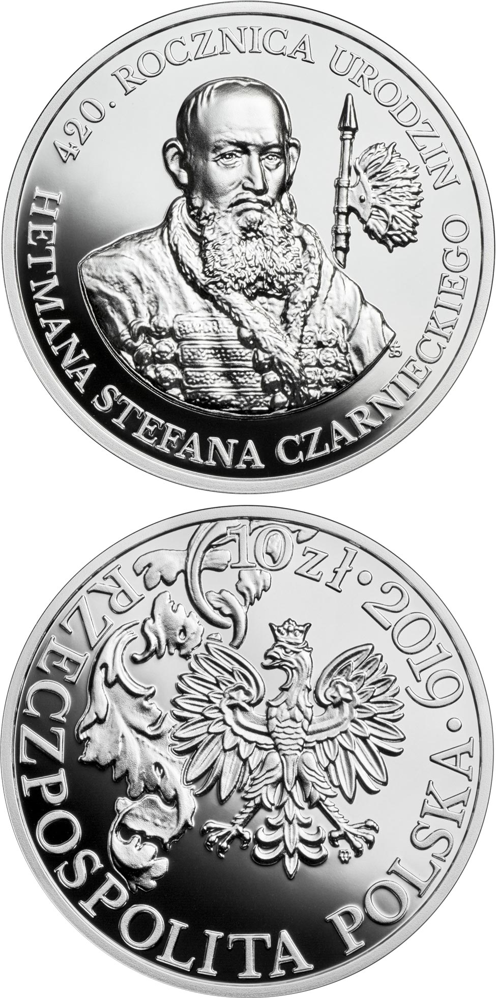 Image of 10 zloty coin - 420th Anniversary of the Birth of Hetman Stefan Czarniecki | Poland 2019.  The Silver coin is of Proof quality.