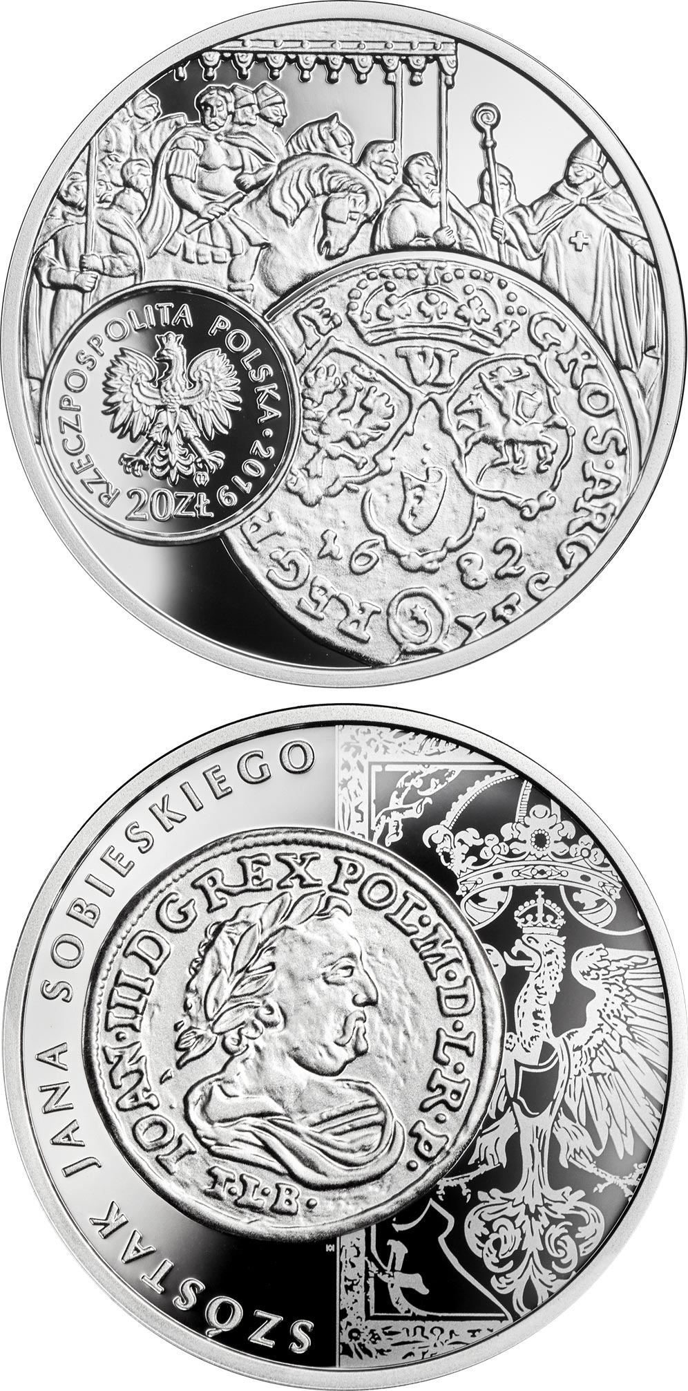 Image of 20 zloty coin - the szóstak (six grosz) of John III Sobieski | Poland 2019.  The Silver coin is of Proof quality.