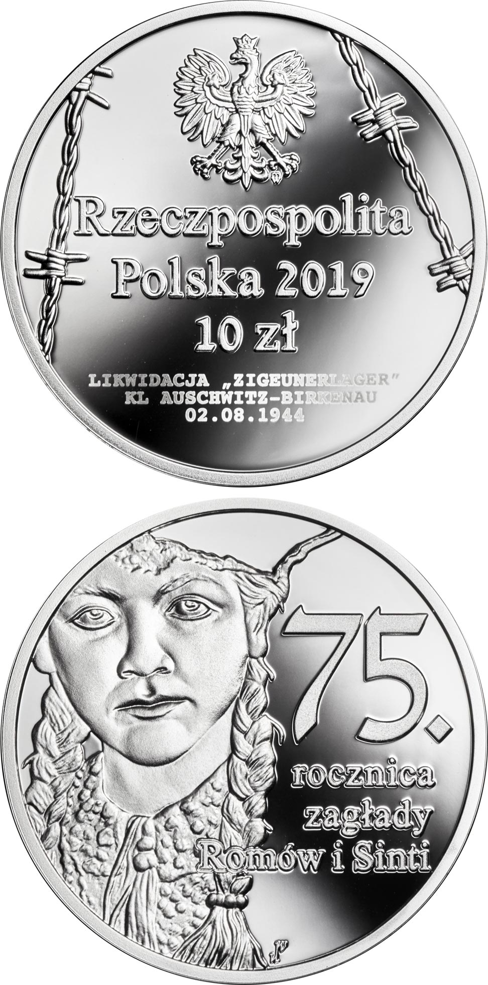 Image of 10 zloty coin - 75th Anniversary of the Romani and Sinti Genocide | Poland 2019.  The Silver coin is of Proof quality.