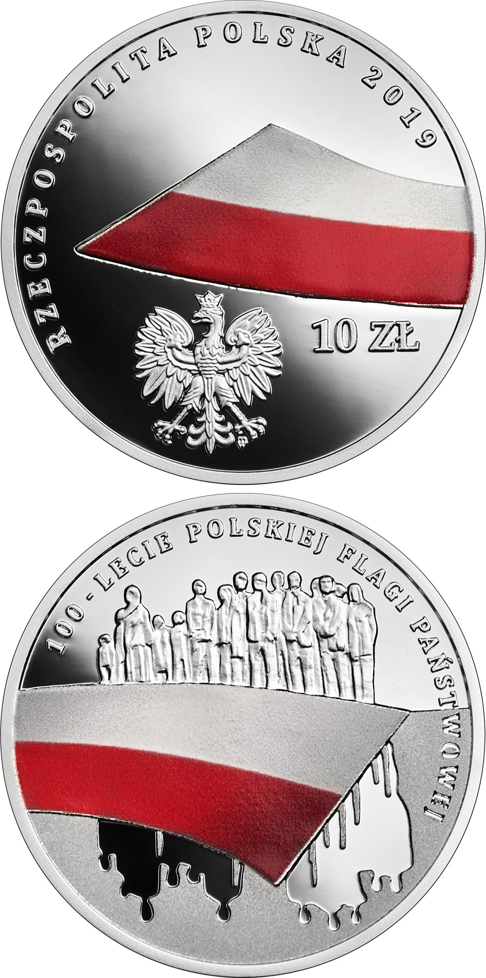 Image of 10 zloty coin - 100th Anniversary of the National Flag of Poland | Poland 2019.  The Silver coin is of Proof quality.