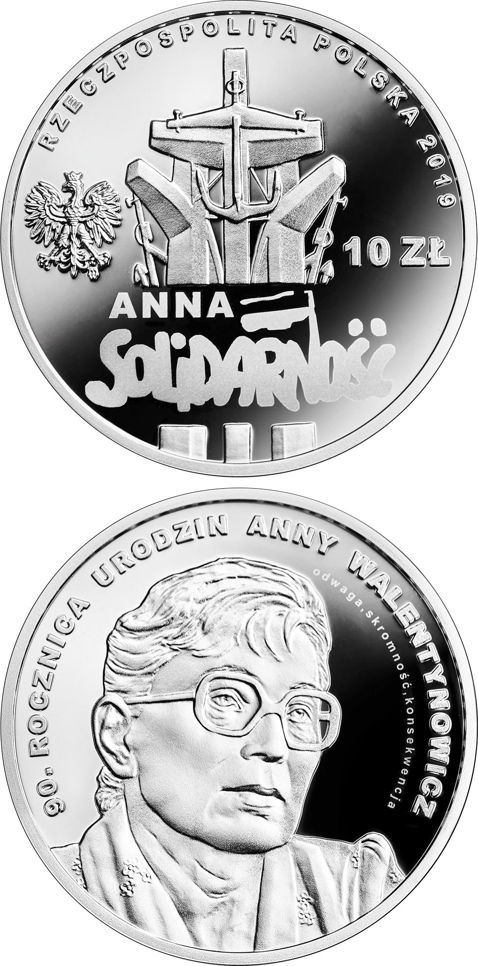 Image of 10 zloty coin - 90th Anniversary of the Birth of Anna Walentynowicz | Poland 2019.  The Silver coin is of Proof quality.