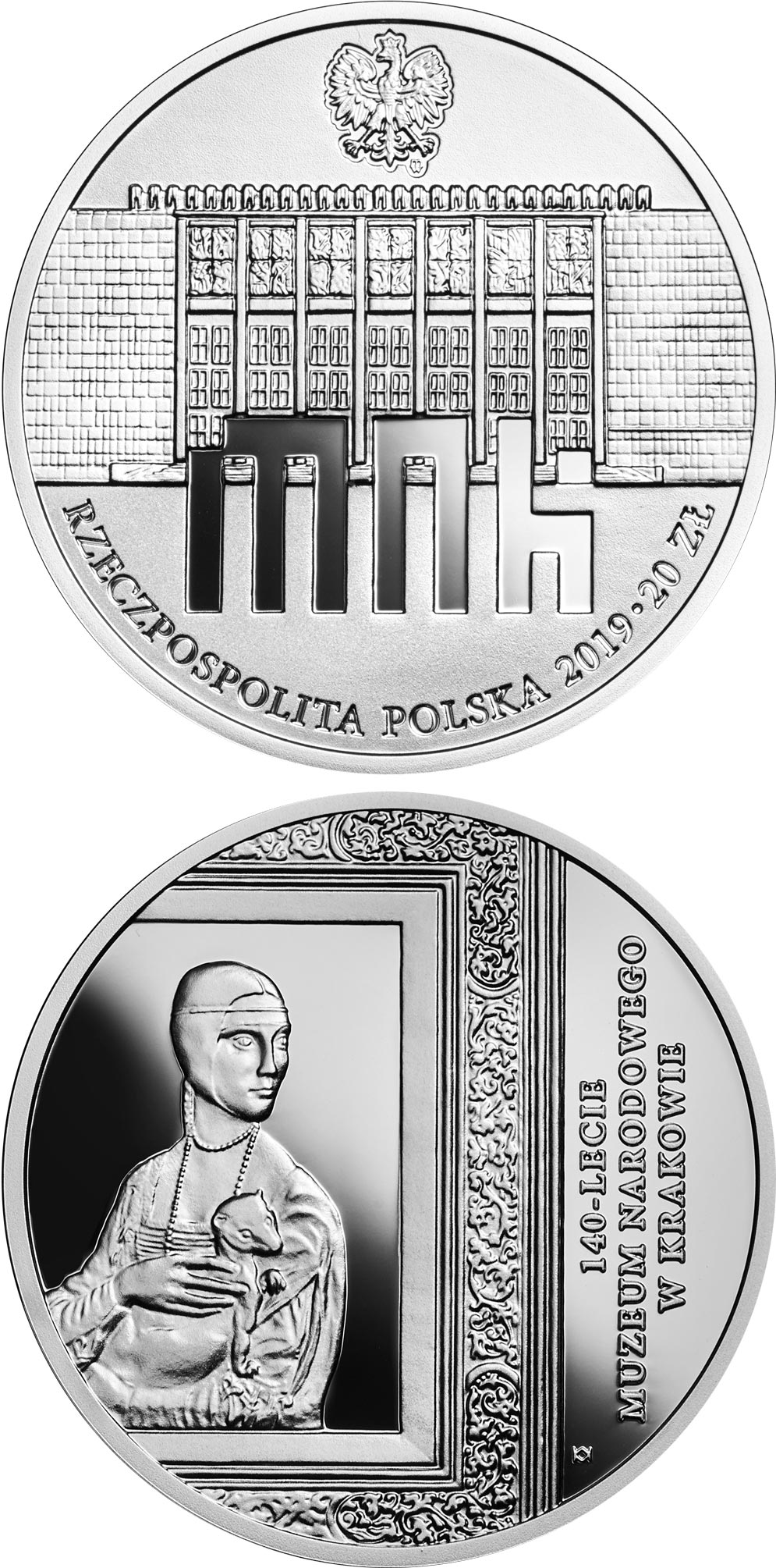 Image of 20 zloty coin - 140th Anniversary of the National Museum in Kraków | Poland 2019.  The Silver coin is of Proof quality.