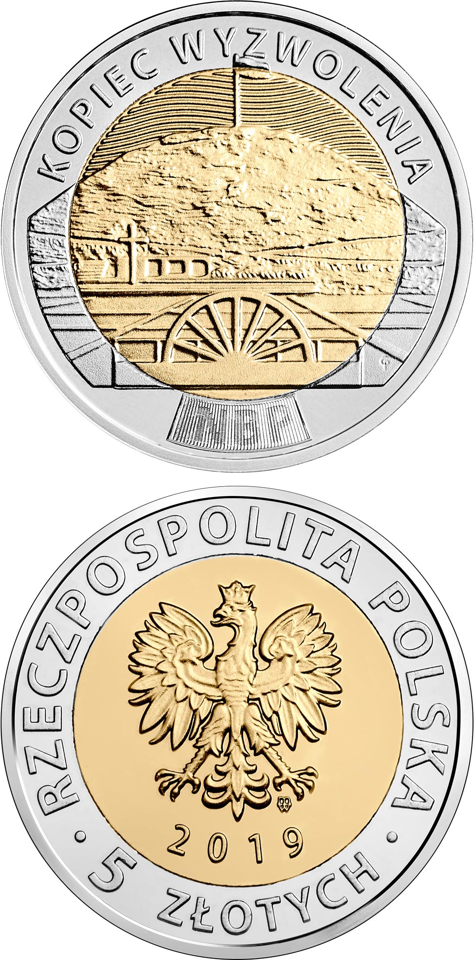 Image of 5 zloty coin - The Liberation Mound  | Poland 2019.  The Bimetal: CuNi, nordic gold coin is of UNC quality.