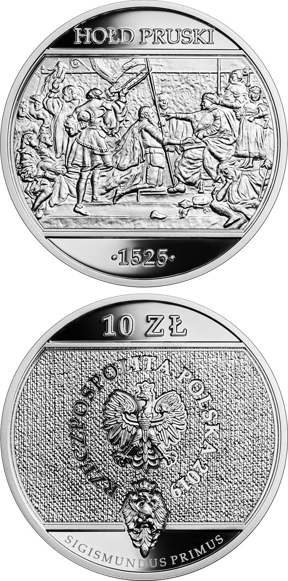 Image of 10 zloty coin - Prussian Homage | Poland 2019.  The Silver coin is of Proof quality.