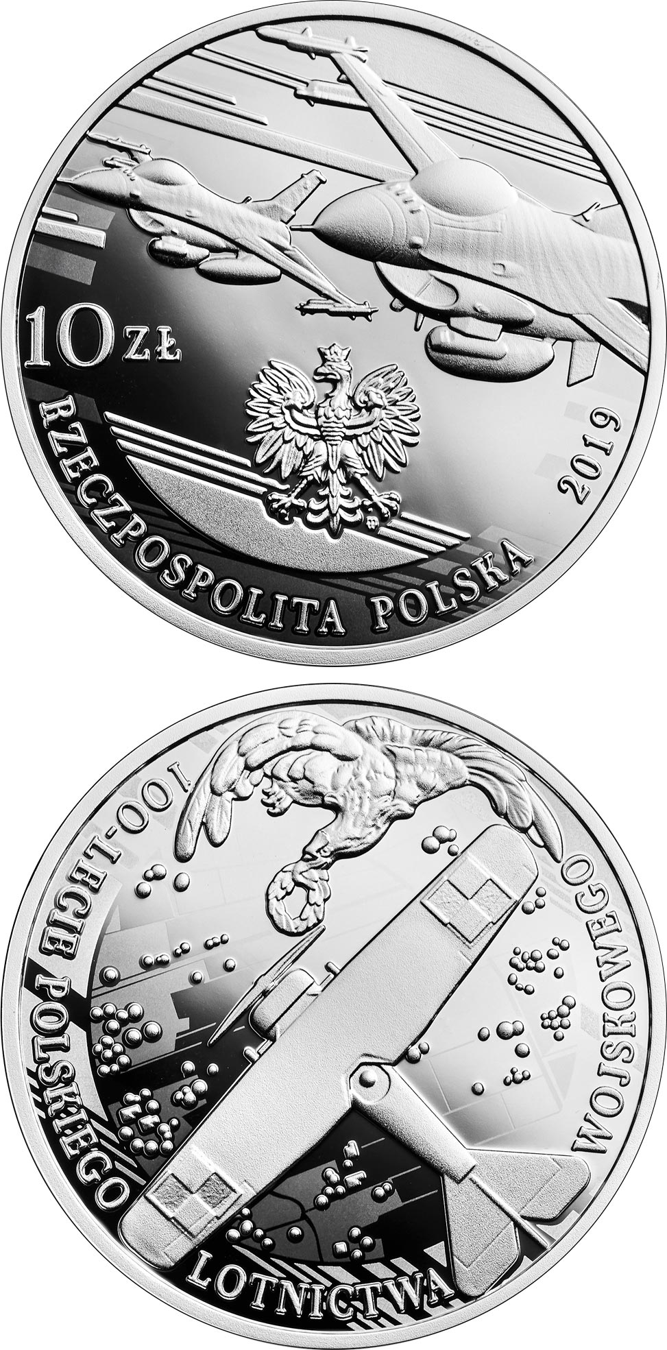 Image of 10 zloty coin - 100th Anniversary of Polish Military Aviation | Poland 2019.  The Silver coin is of Proof quality.