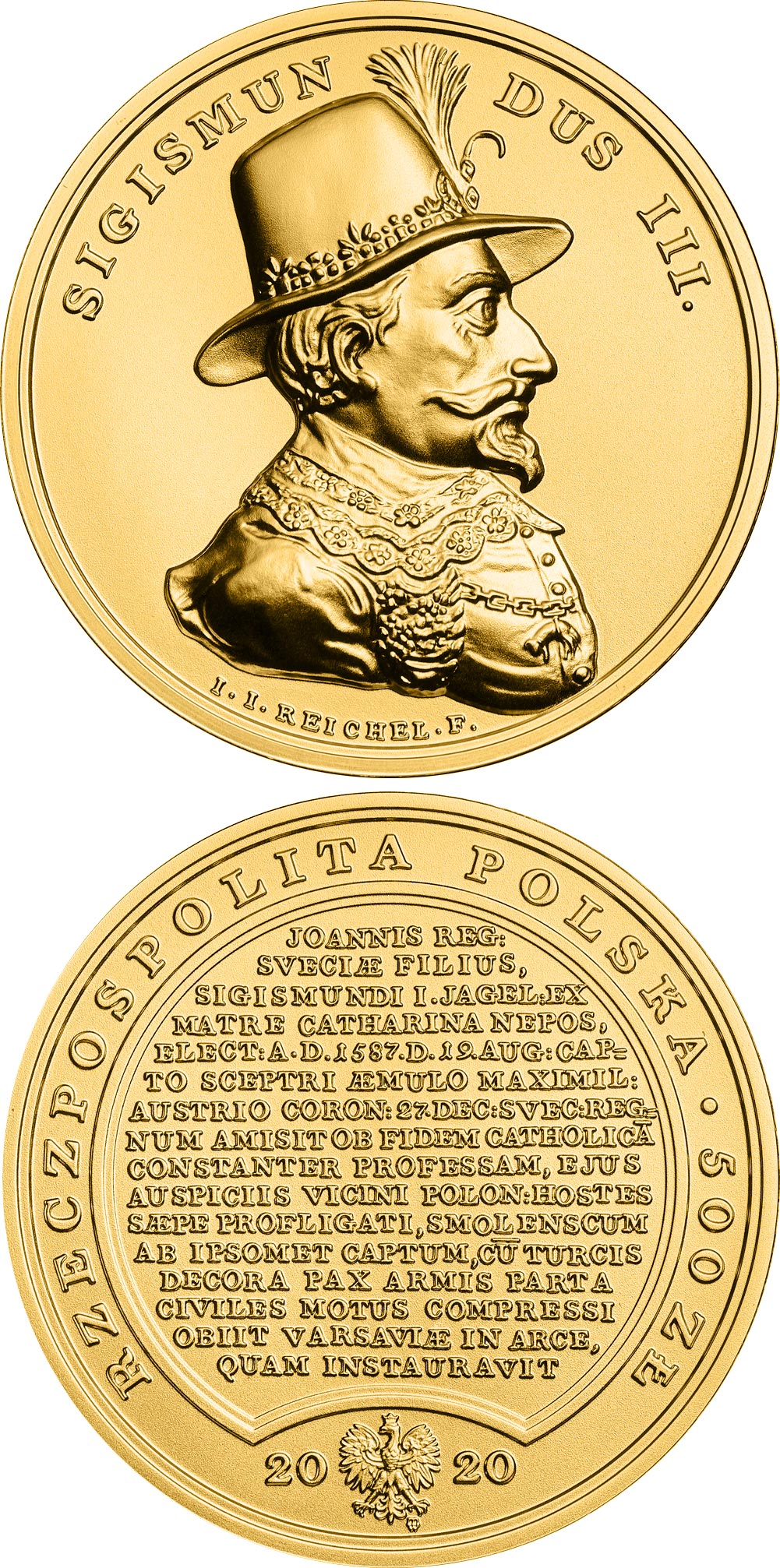 Image of 500 zloty coin - Sigismund Vasa | Poland 2020.  The Gold coin is of BU quality.