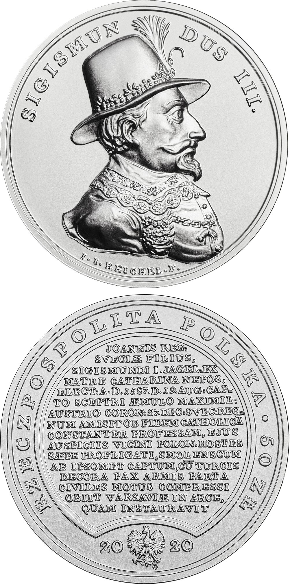 Image of 50 zloty coin - Sigismund Vasa | Poland 2020.  The Silver coin is of BU quality.