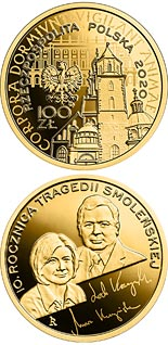 100 zloty coin 10th Anniversary of the Smolensk Tragedy  | Poland 2020