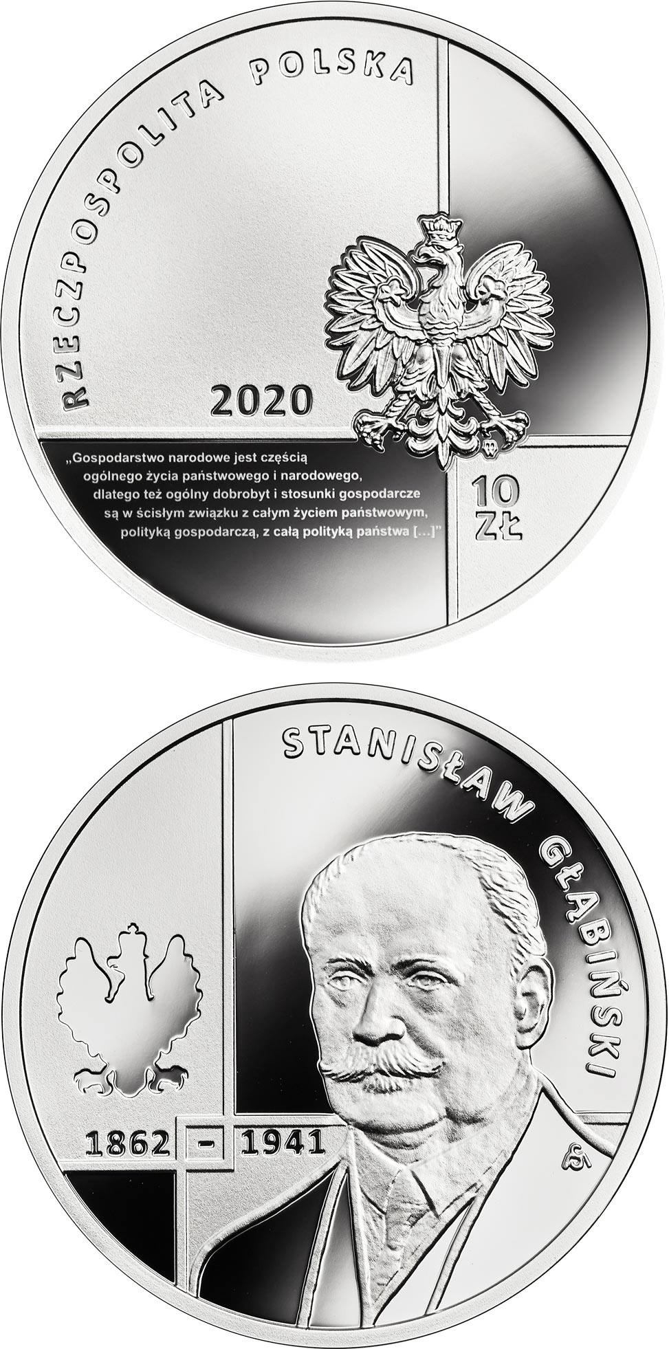 Image of 10 zloty coin - Stanisław Głąbiński | Poland 2020.  The Silver coin is of Proof quality.