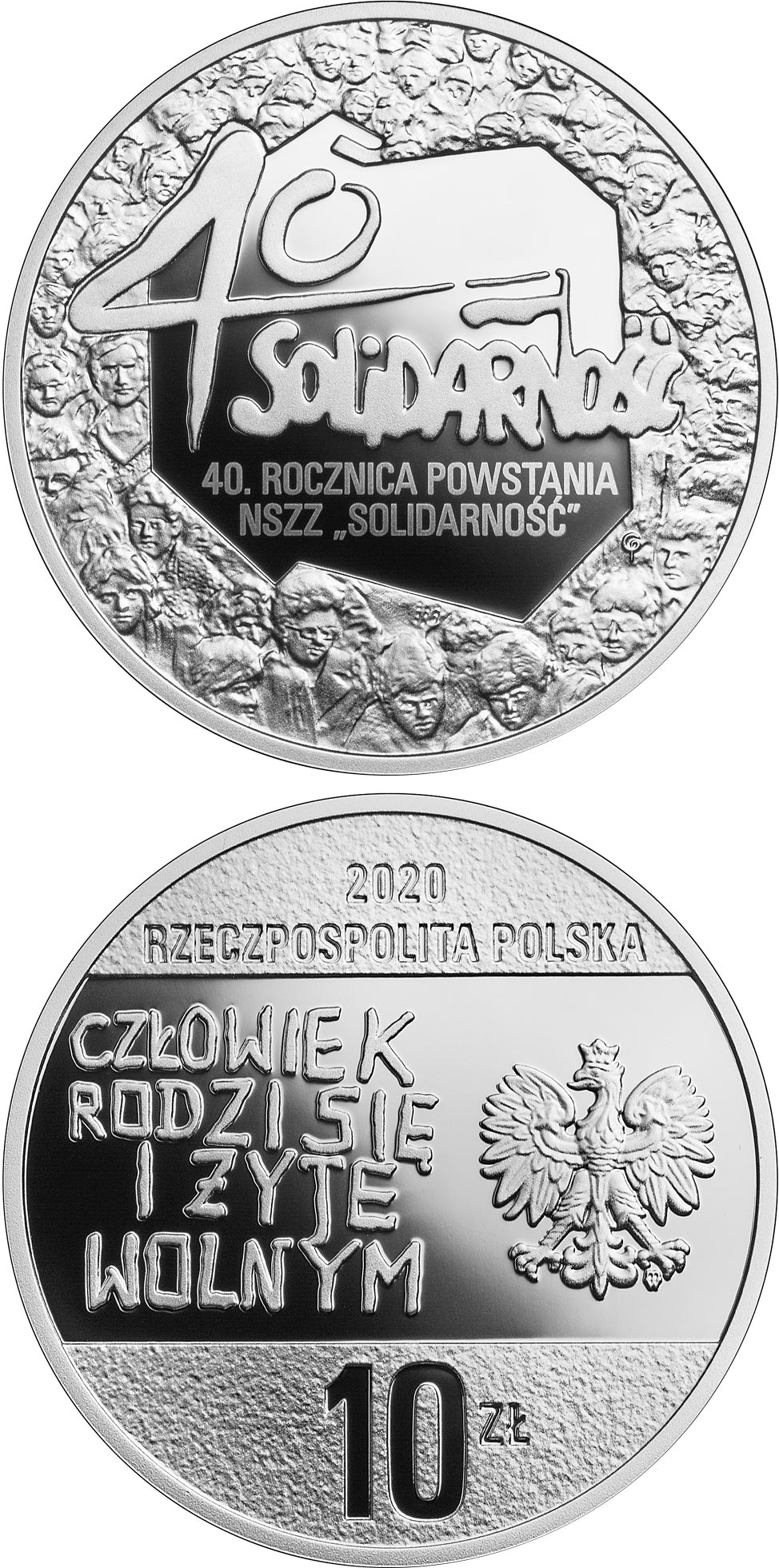 Image of 10 zloty coin - 40th Anniversary of the Solidarity Trade Union | Poland 2020.  The Silver coin is of Proof quality.