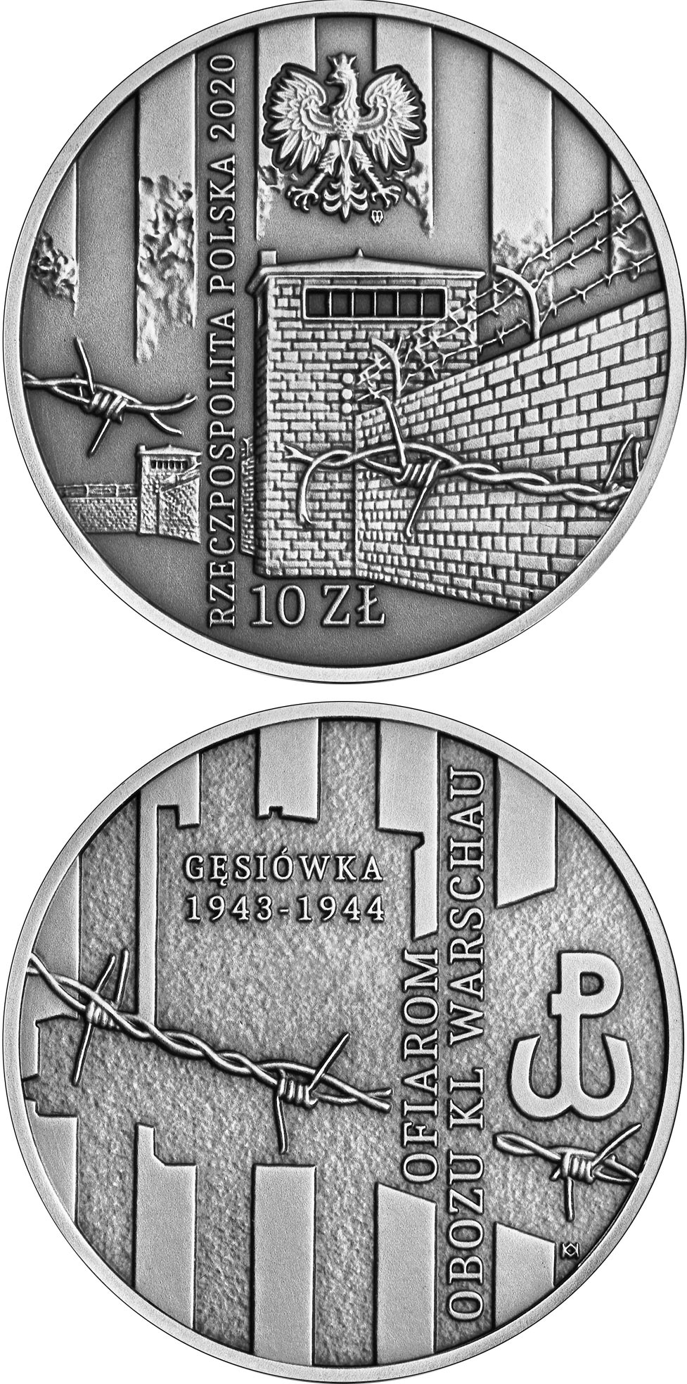 Image of 10 zloty coin - To Victims of the KL Warschau Concentration Camp | Poland 2020.  The Silver coin is of Proof quality.